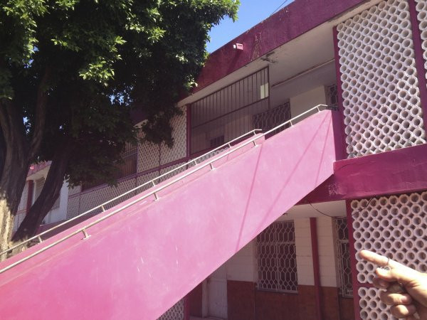 A view of the stairs to the second floor at Escuela Josefa Ortiz De Domingue in Culican, Sinaloa, Meixco